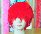 Red Hackle Feather Costume Wig Halloween Costume Coque Feather Wigs