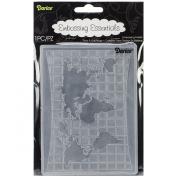 Darice Embossing Folder, 11cm by 15cm , World Map