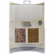 Brand New Sizzix Texture Fades A2 Embossing Folders 2/Pkg-Bottle Caps & Rulers By Tim Holtz