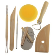 8 Pcs Set Different Shapes Wood Metal Pottery Clay Ceramics Craft Moulding Carving Sculpting Tool