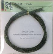 DARK GREEN SPECKLE ON GOLD MIZUHIKI - Package of 20 strands