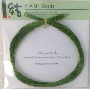 GREEN SPECKLES ON GOLD MIZUHIKI - Package of 20 strands