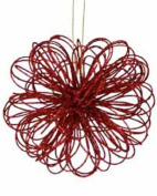 Kurt Adler Red Flower Glittery Ornaments [H9242A]