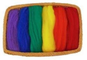6 Colour Fine Wool Roving - Primary Colours - 46cm Each