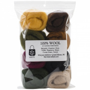 Wistyria Editions WR-907R Wool Roving, Falling Leaves, 8-Pack