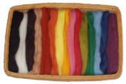 15 Nature-based Wool Roving Colours - Half Yard Each Colour