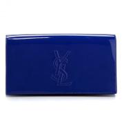 YSL Yves Saint Laurent Belle Du Jour Blue Patent Leather Large Clutch Bag