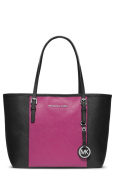MICHAEL Michael Kors Centre Stripe Jet Set Small Travel Tote in Black Deep Pink