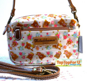 GLITTER Authentic Rilakkuma Bear Wristlet Purse Crossbody Bag Tote Beige