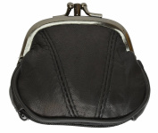 Leather Small Change Purse Double Frame with Zipper Pocket By Marshal