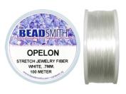 Beadsmith Opelon Stretch Jewellery Fibre, White, 0.7 millimetres x 100 metres
