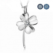 Topstaronline (TM) Fashion Large Four Leaf Clover of Faith & Hope & Love & Luck Swiss Crystal Sterling Silver Pendant Necklace