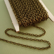 BeadsTreasure 4.6m Spool-Antiqued Bronze Round Cable Unfinished Chain-3x2x0.6mm Jewellery Making Supply.