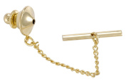 Tie Tack Clutch With Chain 10x11mm Gold Plated