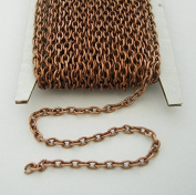 BeadsTreasure 4.6m Spool-Antiqued Copper Round Cable Unfinished Chain-3x2x0.6mm Jewellery Making Supply.