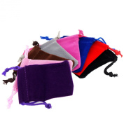 Pack of 8 Mix Colour Soft Velvet Pouches w Drawstrings for Jewellery Gift Packaging, 5x7cm