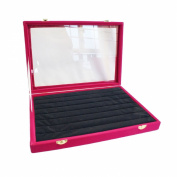 Fuchsia Velvet Glass Top Lid Jewellery Ring Cufflinks Display Storage Box, 35x24cm