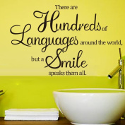 There Are Hundreds of Languages Around The World, But A Smile Speaks Them All Home Vinyl Wall Quotes Decals Sayings Art