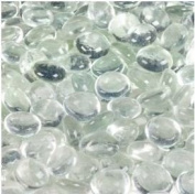 Dashington Flat Clear Marbles, Pebbles (1.1kg Bag) for Vase Filler, Table Scatter, Aquarium Decor, 250-300 Marbles Per Bag