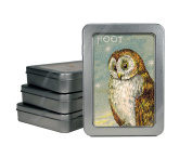 Cavallini Vintage Owl Note Cards, 10 Glittered Cards with Envelopes