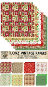 Paper Pack (24sh 15cm x 15cm ) Bright Christmas FLONZ Vintage Paper for Scrapbooking and Craft