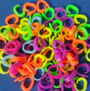 """100 Assorted Colour """"Q"""" Clips. Durable locking type. Fits all loom bracelets. Like C or S Clip"""