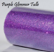 Wedding GLITTER Tulle Roll 15cm x 9.1m PURPLE Sparkling Tulle