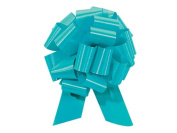 TURQUOISE BLUE Pull String Bows - 14cm Wide 20 Loops (1 & 2.2cm ribbon) Set of 10