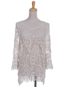 Anna-Kaci S/M Fit Beige Floral and Swirl Pattern Crochet Loose Knit Net Sweater