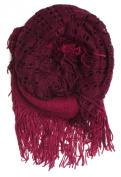DRY77 Fashion 2-Tone (Solid and Net Pattern) Knitted Loop Infinity Scarf