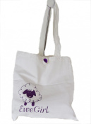 EweGirl by della Q Simple Tote Knitting Bag (32cm . H x 29cm . W); 101 White/Purple EG-2024-101