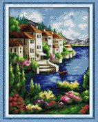 Benway Stamped Cross Stitch Houses Beside The Blue Lake With Trees And Flowers 11 count 37cm X 46cm