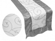 36cm x 270cm Table Runner with Satin Edges and Embroidered Organza - Silver