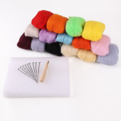 Needle Felting Starter Kit Set 150G 15 colours Wool Needles Felt Mat Tool# HW724
