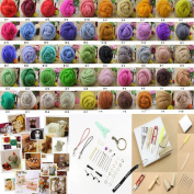 Estone 50COLOR Wool Fibre Needle Felting + Felting Needles Starter Kits Mat Tools