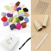 Estone 1Set 25colors Wool Fibre Needle Felting + Felting Needles Starter Kits Mat Tools