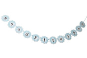 """Ready to Pop"" Baby Shower Banner Garland - Baby Blue"