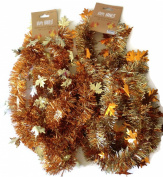 Thanksgiving Decorative Tinsel Garland in Gold and Copper Colours - Bundle of Two. One Gold Colour One Copper Colour Both with Harvest Leaf Decor