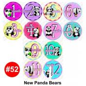 NEW PANDAS Baby Month Onesie Stickers Baby Shower Gift Photo Shower Stickers, baby shower gift by OnesieStickers
