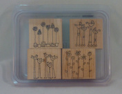 Stampin' Up! SIMPLE SOMETHINGS Set of 4 Decorative Rubber Stamps Retired