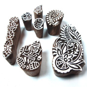 Hand Carved Wooden Floral Designs Tags for Block Printing