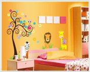 New Design Tree with Lion Giraffe Owls and Zebra DIY Wall Decal Nursery Room Wall Sticker