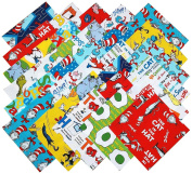 Robert Kaufman DR SEUSS favourites RETURNS Precut 17cm Cotton Fabric Quilting Squares Charm Pack Assortment