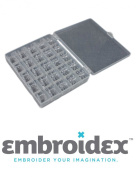 Embroidex Set of 25 Bobbins & Storage Case SA156 Class 15 for Sewing Machine Brother Singer Babylock Kenmore New Home Kenmore Pfaff simplicity Riccar Juki Necchi White Janome Elna Euro Pro Husvarna