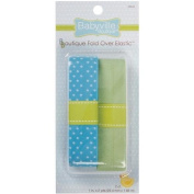Babyville Boutique Fold Over Elastic, Blue with Dots and Solid Green