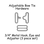 Adjustable Bow Tie Hardware Clips - 1.9cm Silver Metal - 25 Sets
