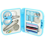 Blue Top Quality Handy Travel Emergency Mini Sewing Kit in a Compact Custom Made Plastic Case by Kurtzy TM