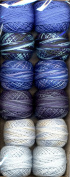 Valdani Perle Cotton Embroidery Thread Size 12 Two in Blue Collection