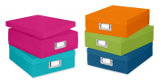 Whitmor 6754-491-5 Plastic Document Boxes Set of 5 Assorted Colours