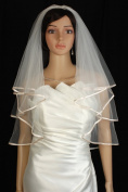 Bridal Veil Diamond (Off) White 2 Tiers Elbow Length Champagne Satin Hem Edge